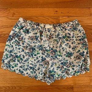 Anthropologie cream printed scalloped edge shorts